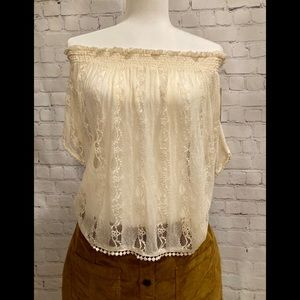 Lace, off the shoulder top, Junior size 14